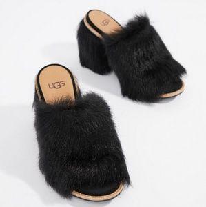 Ugg  Rosa Fluff Black Heels Sz Sz 6